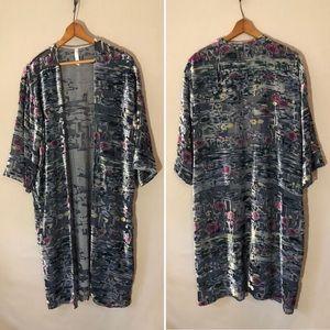 Anthropology Velvet Kimono One-Size